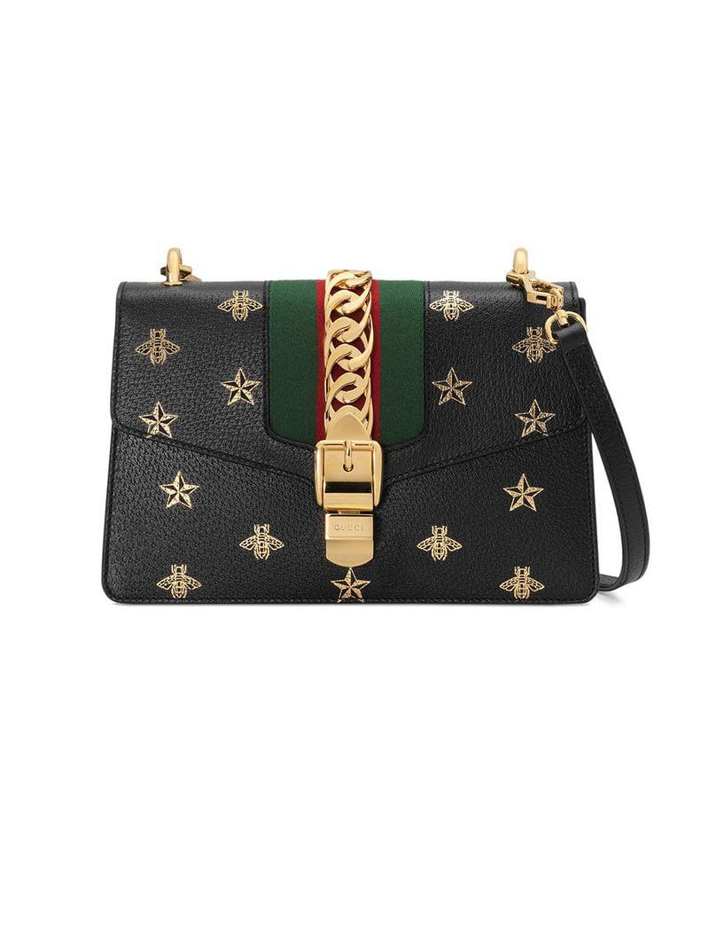 215a3d035d4aa9 Gucci Sylvie Bee Star Small Shoulder Bag in Black - Lyst
