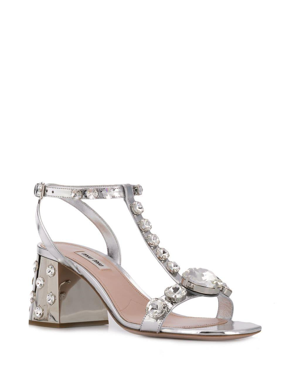 79db93d41 Lyst - Miu Miu Embellished Leather Sandals in Metallic - Save 32%