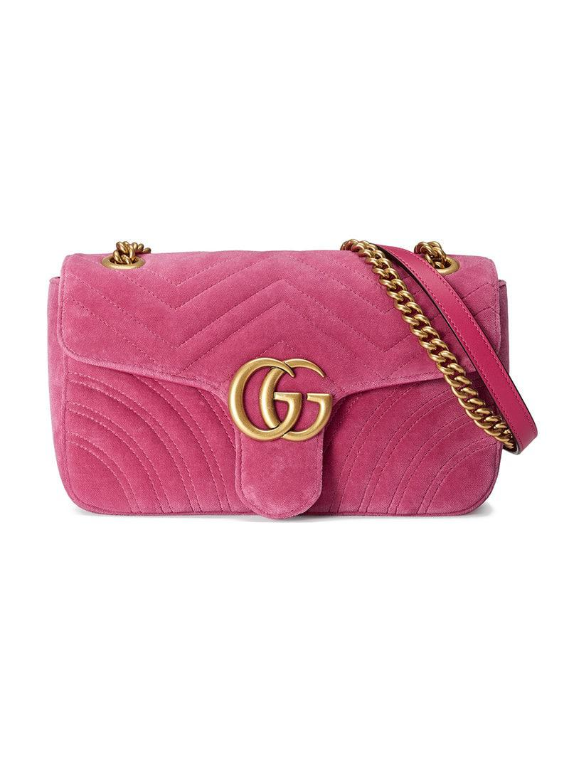 c2e9cab12 Gucci GG Marmont Chevron Velvet Shoulder Bag in Pink - Save 21% - Lyst