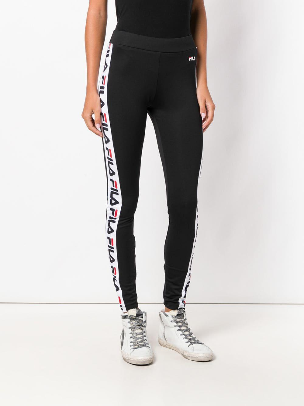 db4484258681 Fila Logo Side Stripe leggings in Black - Lyst