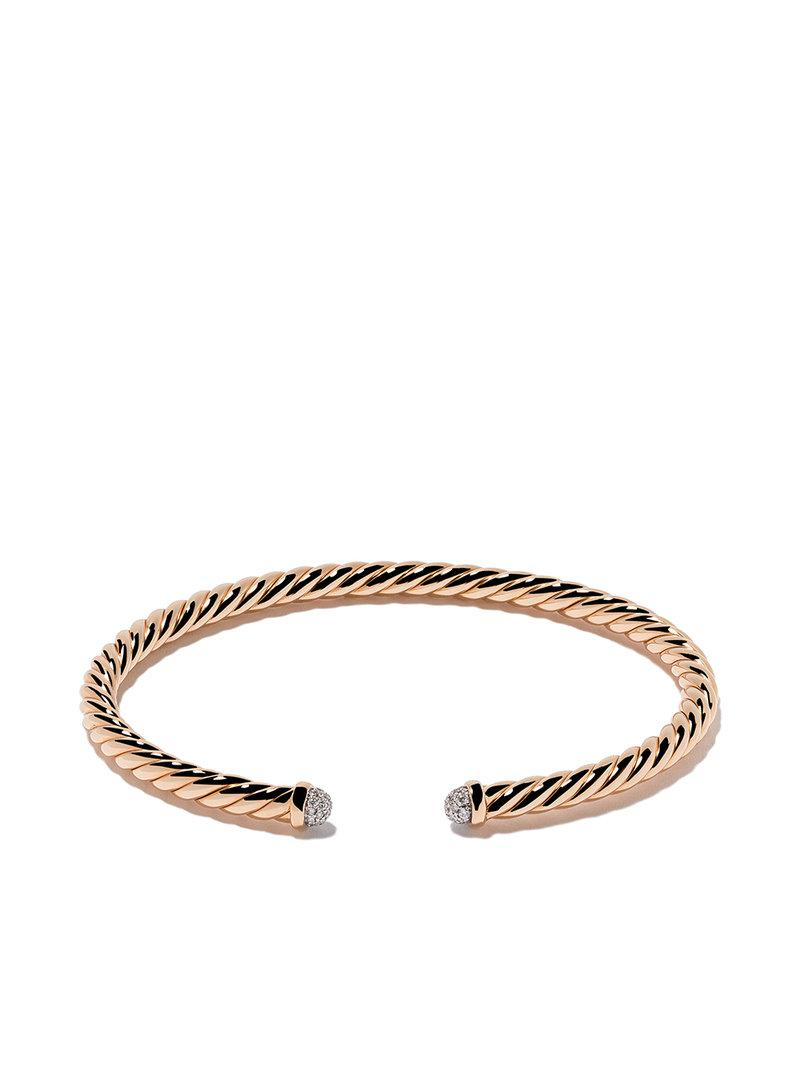 18kt yellow gold diamond X Cable Spira cuff bracelet - Metallic David Yurman GBnlFyJxp