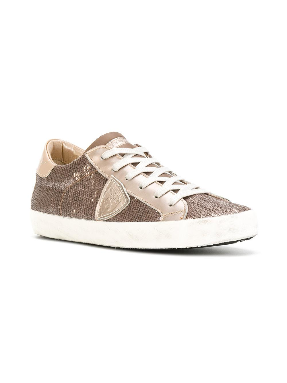 embellished lace up sneakers - Nude & Neutrals Philippe Model wELkN6