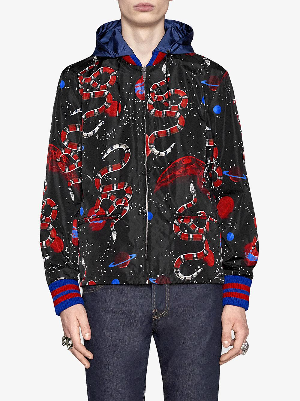 2cb23d1cc Gucci Space Snake Print Windbreaker in Black for Men - Lyst