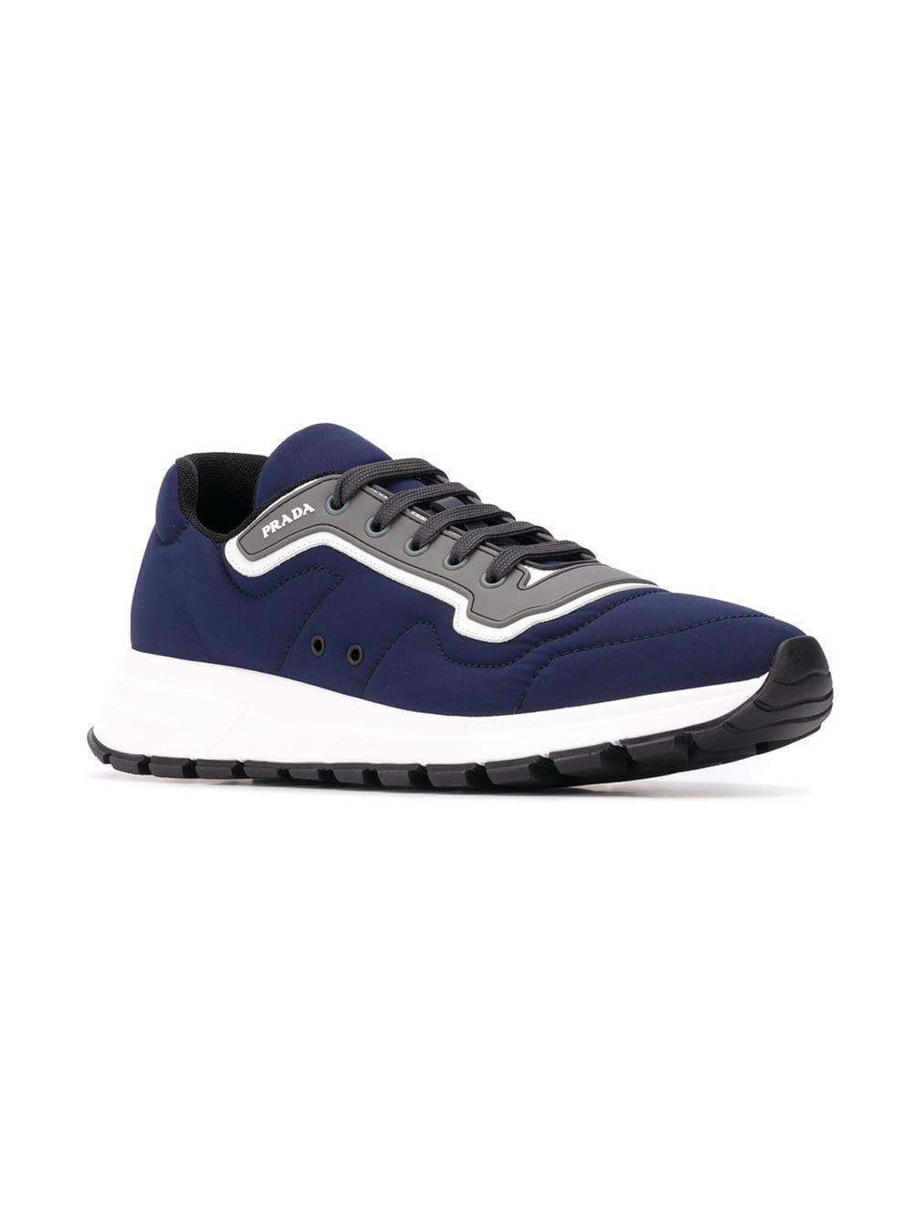 93d0c2aba74d Lyst - Prada Low Top Logo Sneakers in Blue for Men