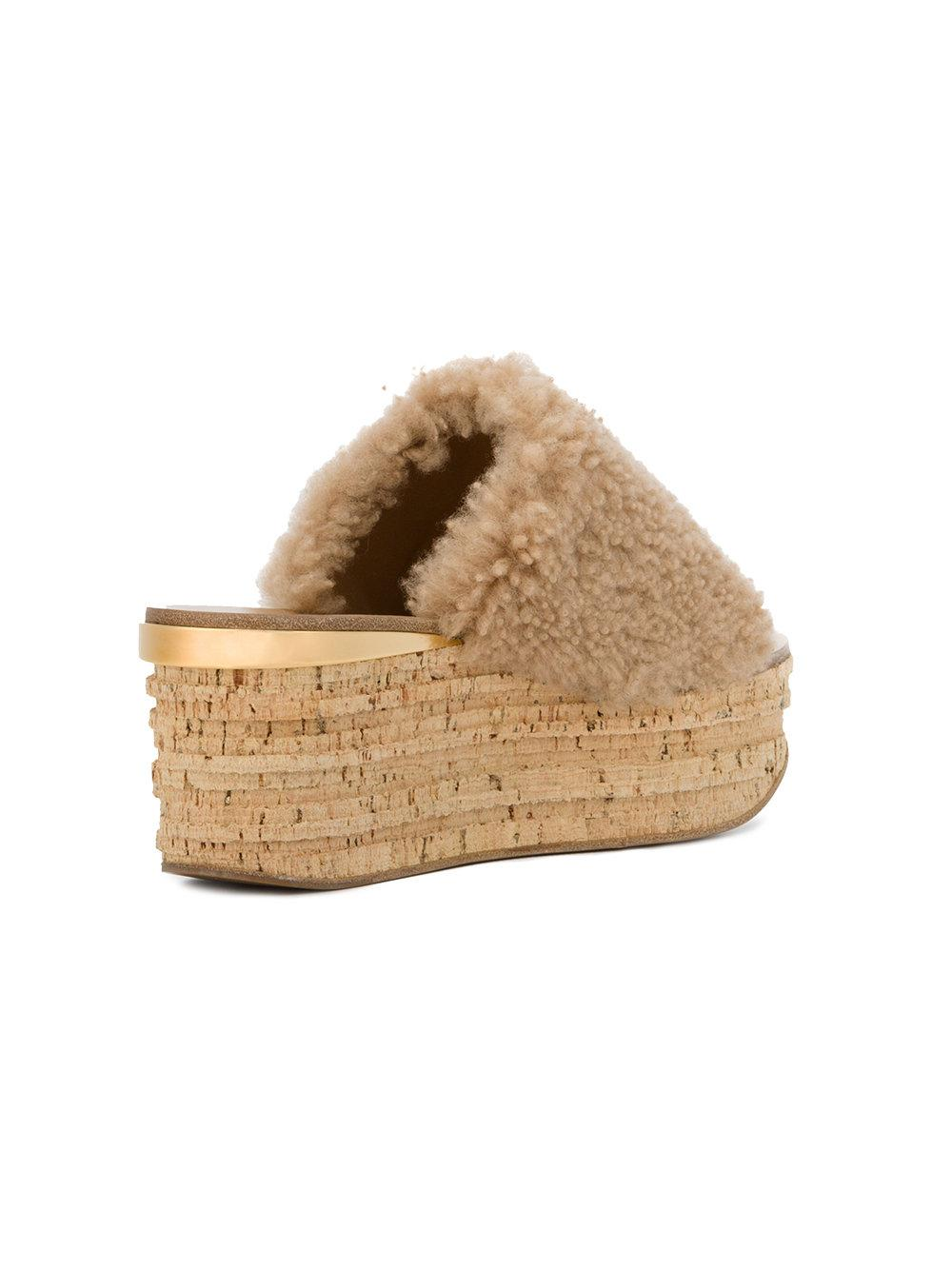 Nude Camille 75 Shearling flatform slides - Nude & Neutrals Chlo Buy Cheap Popular Sale Recommend 100% Authentic Cheap Online 1TC0pjx