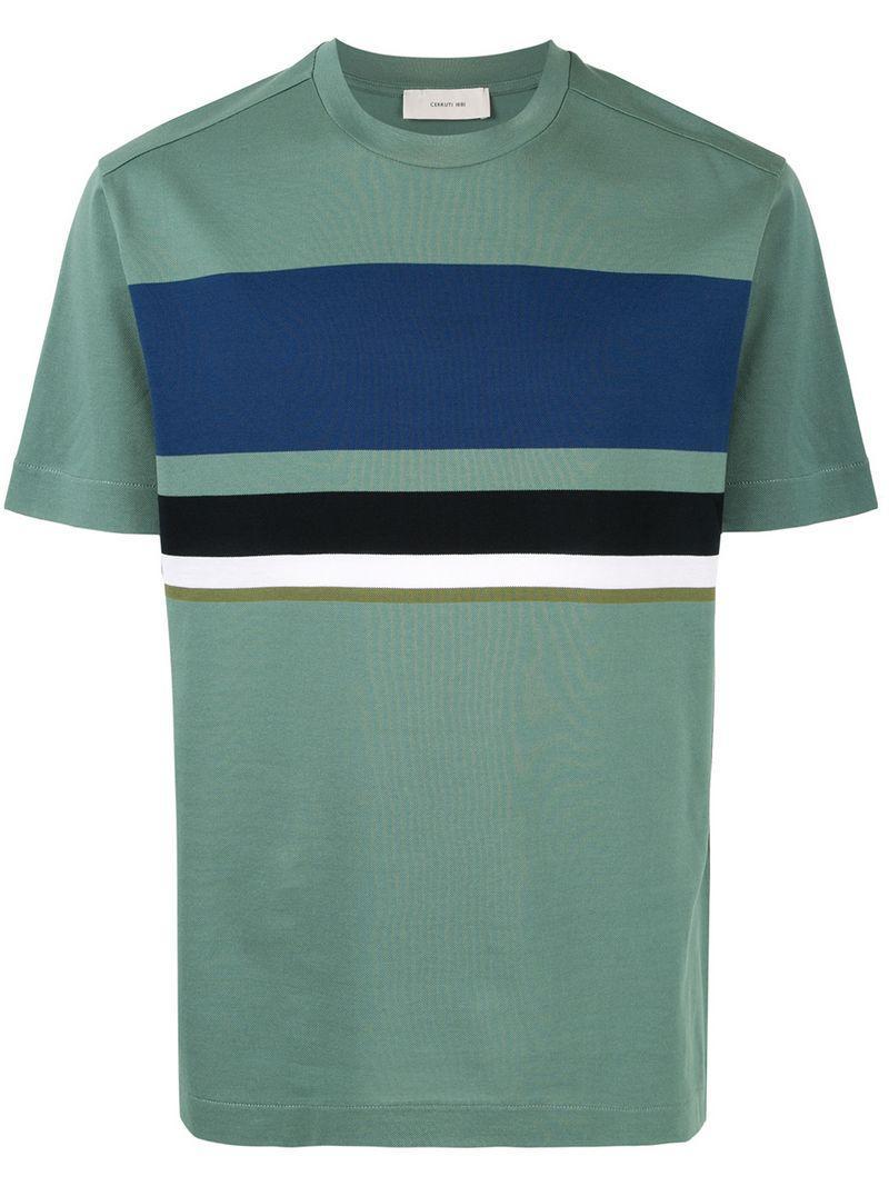 6c414dcd Cerruti 1881 Striped Panel T-shirt in Green for Men - Lyst