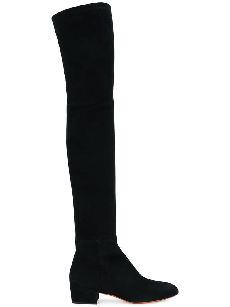 9667867bd1d Santoni Heeled Thigh High Boots in Black - Lyst
