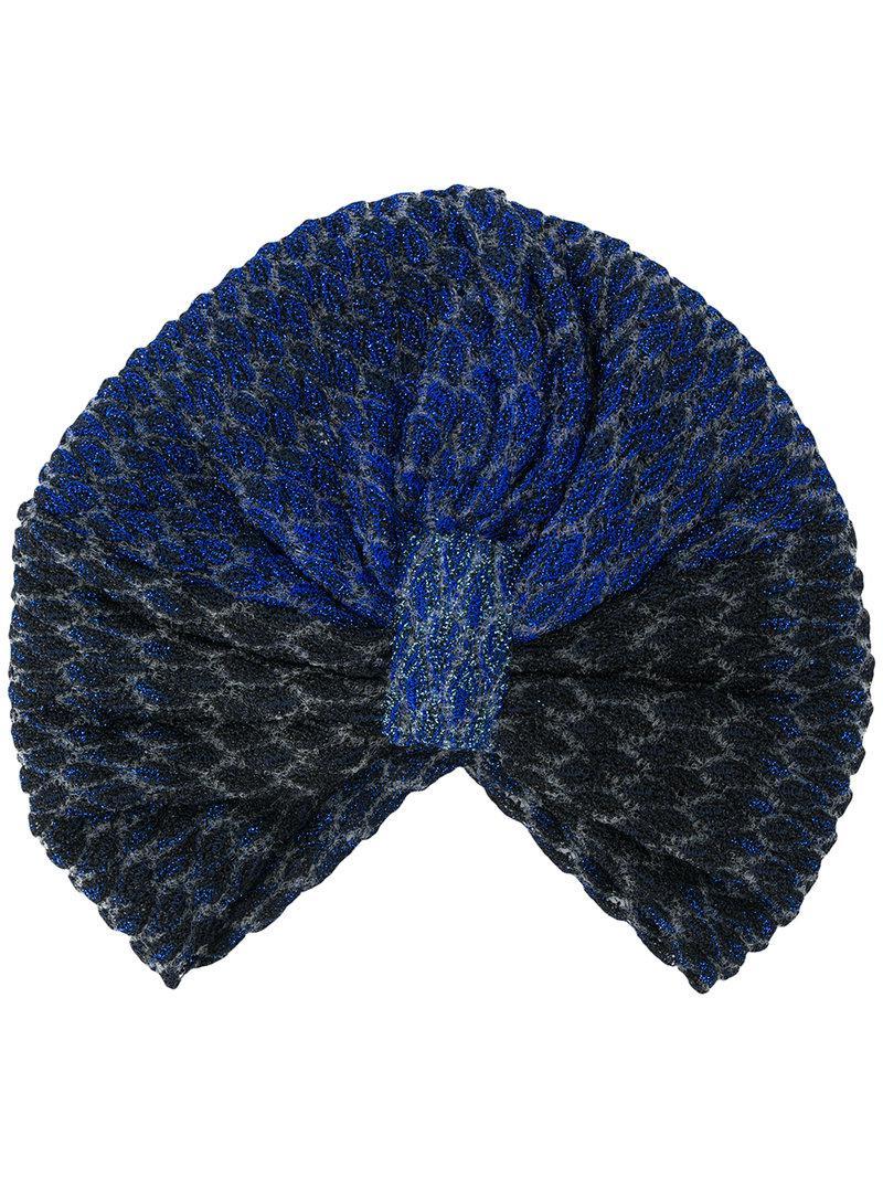 6e600acff7e Missoni Turban Knit Hat in Blue - Lyst