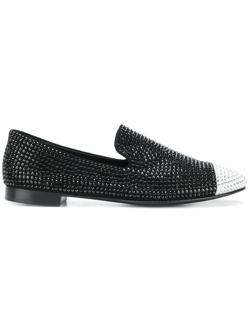 8f501c705d5 Giuseppe Zanotti Crystal Embellished Loafers in Black - Lyst