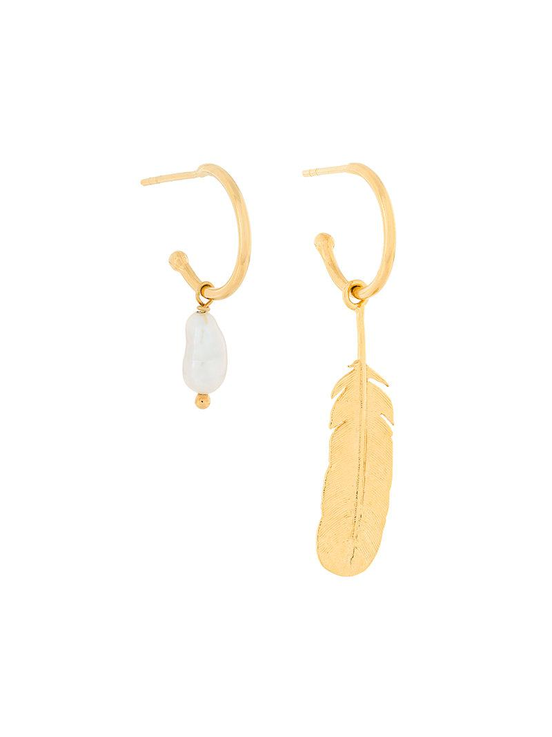 Wouters & Hendrix My Favourite feather and fresh-water drop pearl earrings - Metallic kSTqDlAzF