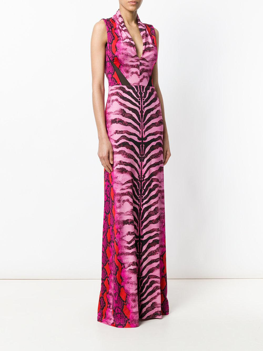 animal print evening gown - Pink & Purple Just Cavalli SreTi9Z