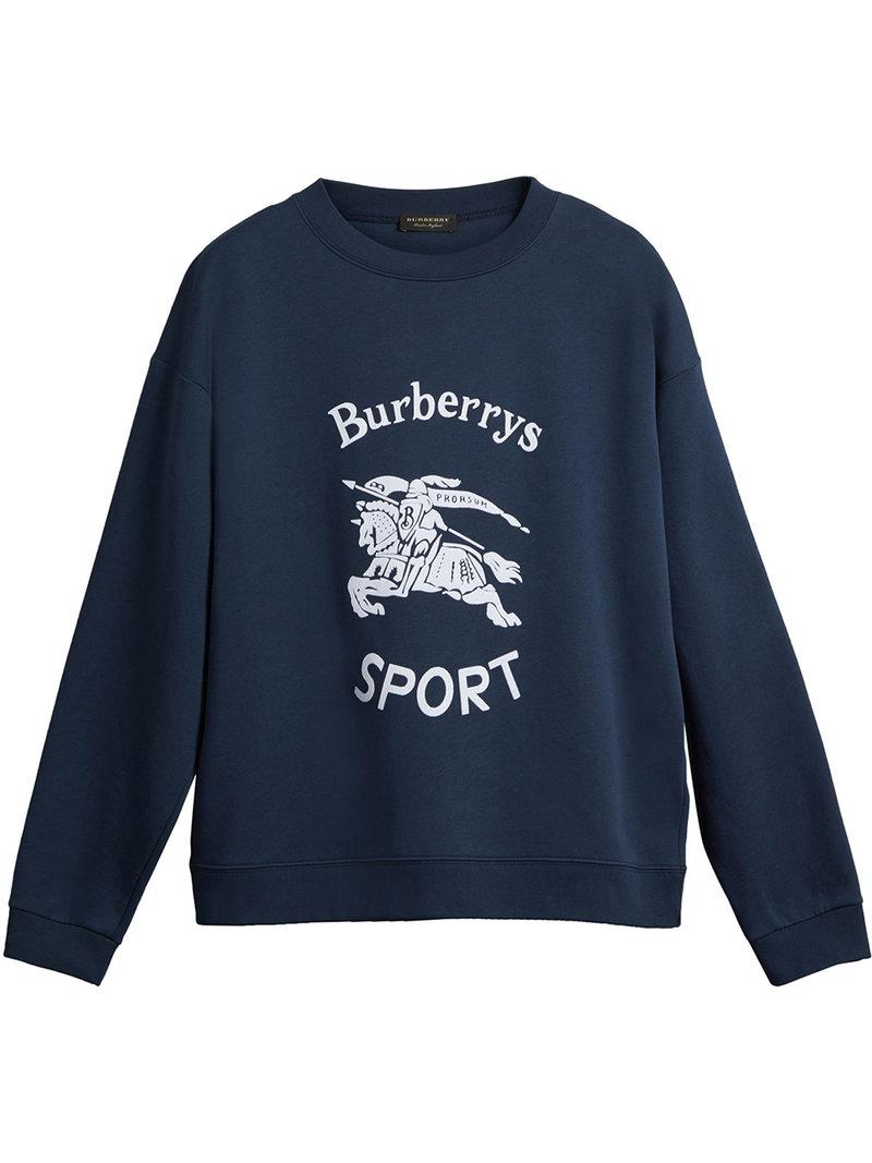 3c5bd3e92 Lyst - Burberry Reissued Jersey Sweatshirt in Blue for Men - Save 50%