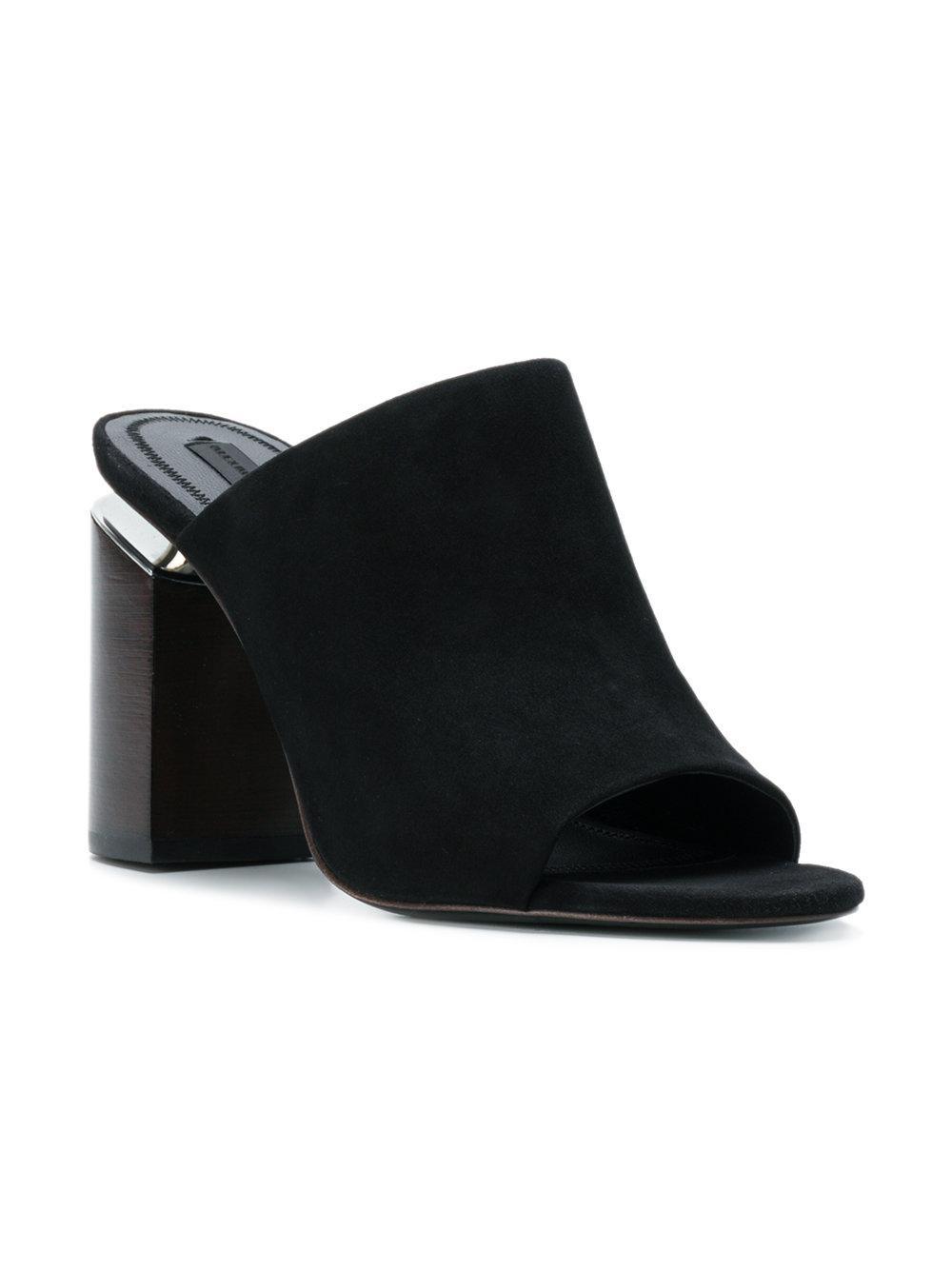 bce5e8a1afa Lyst - Alexander Wang Avery Black Suede Block Heel Mules in Black - Save  47.36842105263158%