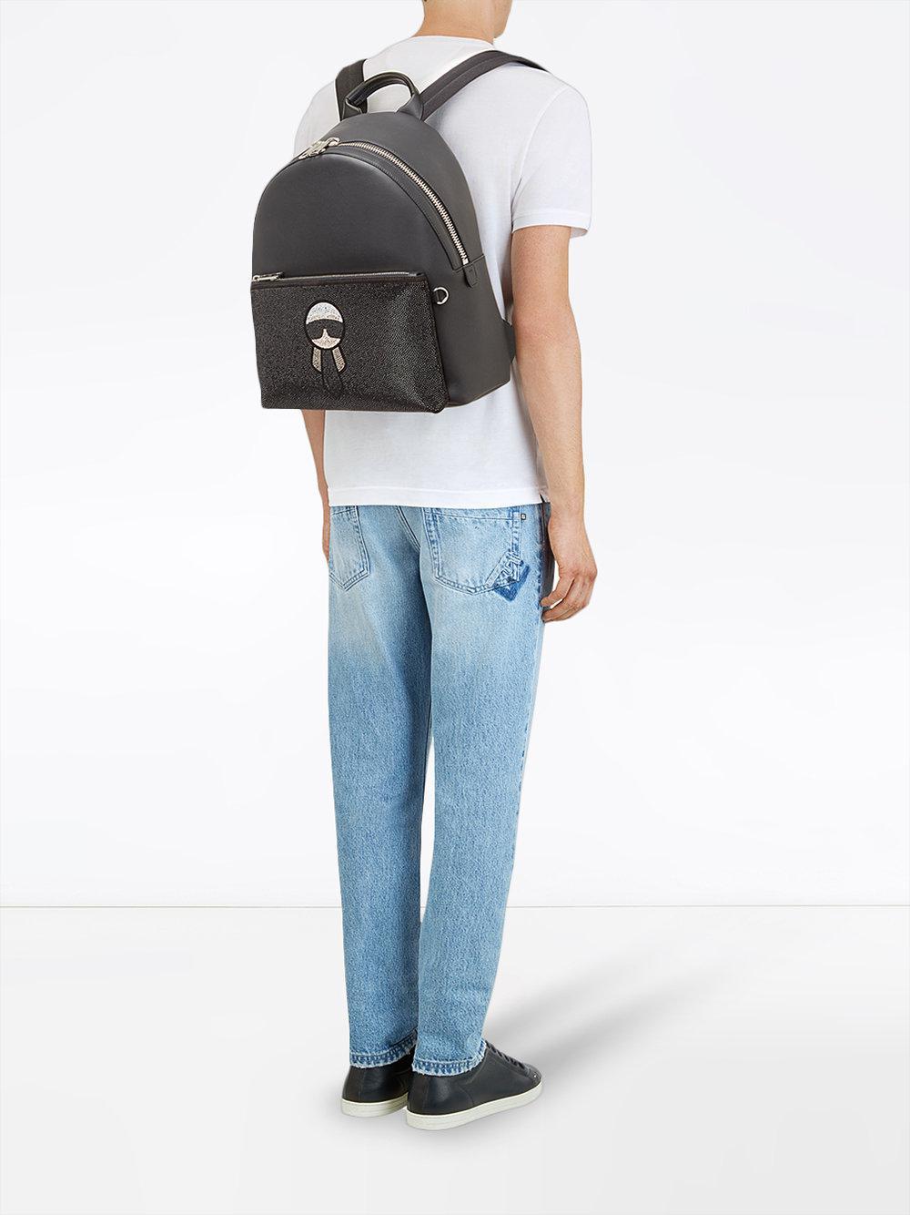 2ac67c559ce7 Lyst - Fendi Studded Karlito Backpack in Black for Men