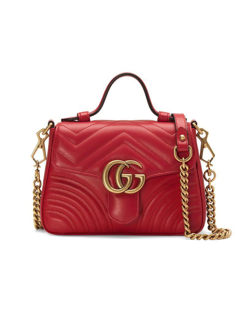 f5e62282c5b0 Gucci Red GG Marmont Mini Top Handle Bag in Red - Save 5% - Lyst