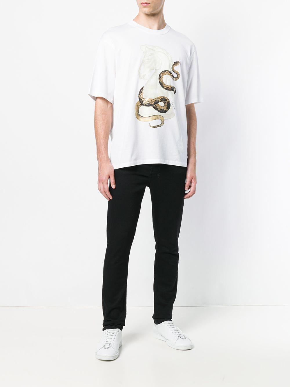 ce4f98740465 Roberto Cavalli Snake Print T-shirt in White for Men - Lyst
