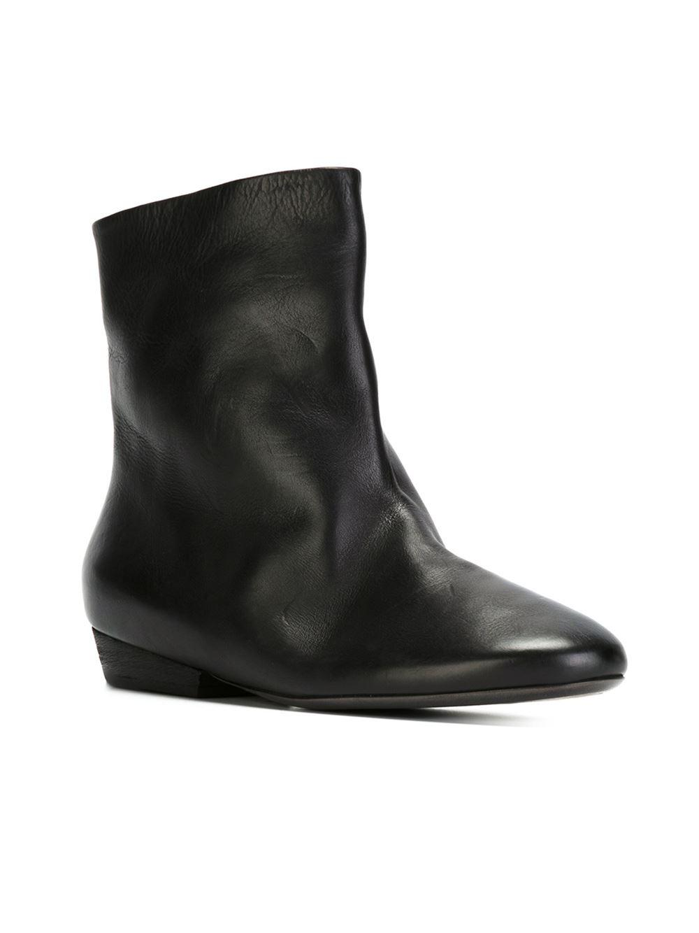 393366bf6512c Lyst - Marsèll - Flat Ankle Boots - Women - Lamb Skin leather rubber - 40  in Black