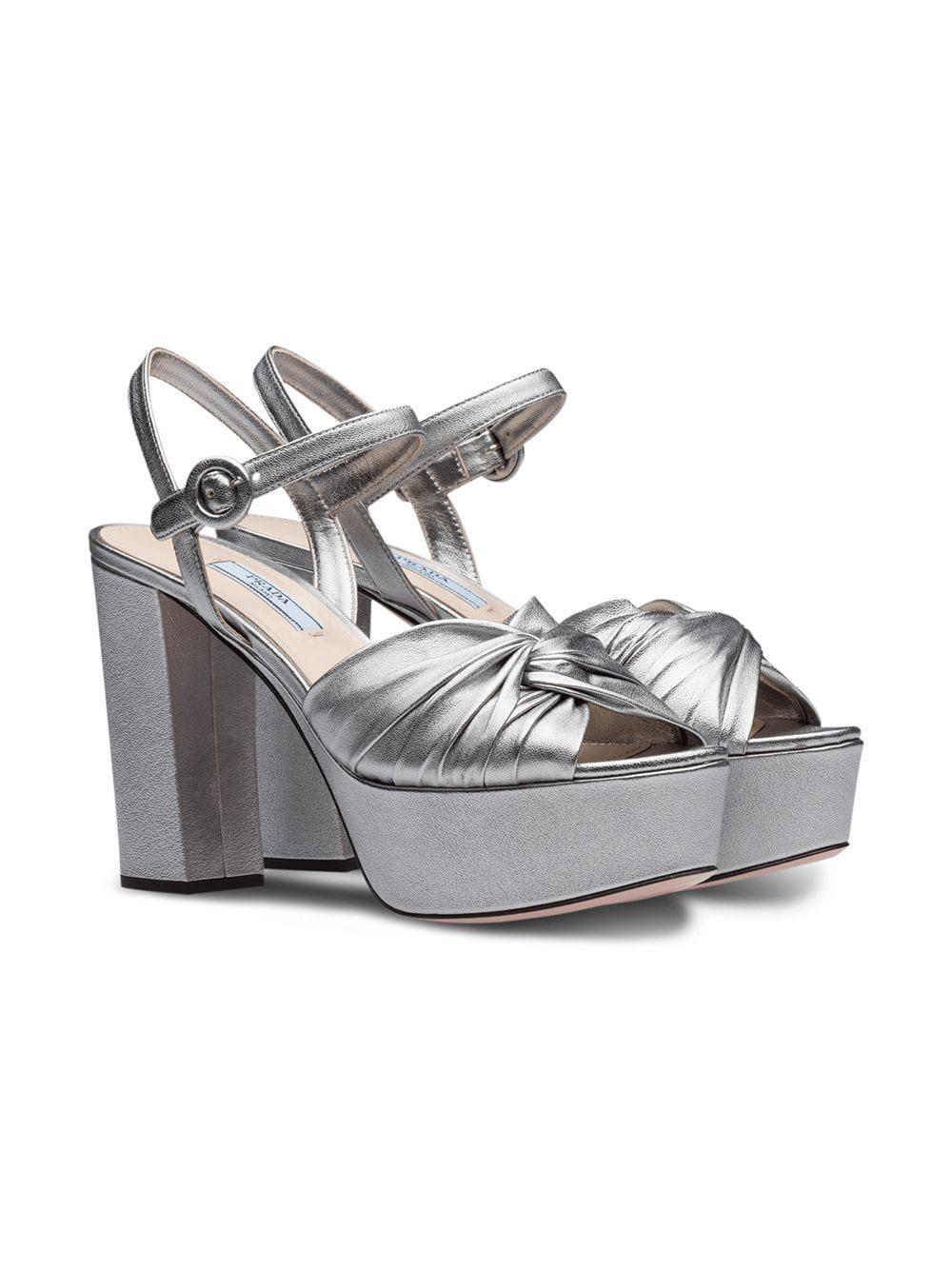 e848d0ac958 Lyst - Prada Platform Sandals in Metallic