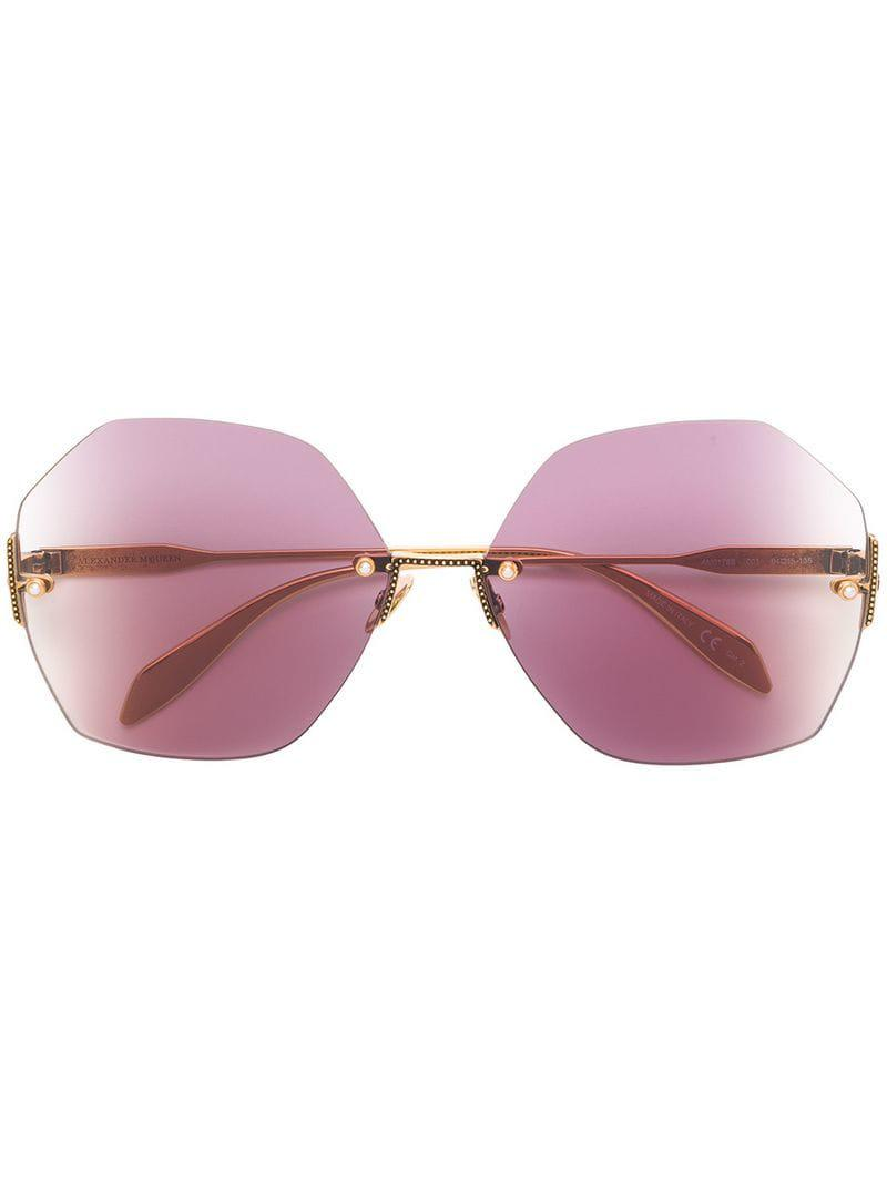 9a15b2ca2a Alexander McQueen Pearl Oversized Sunglasses in Purple - Lyst