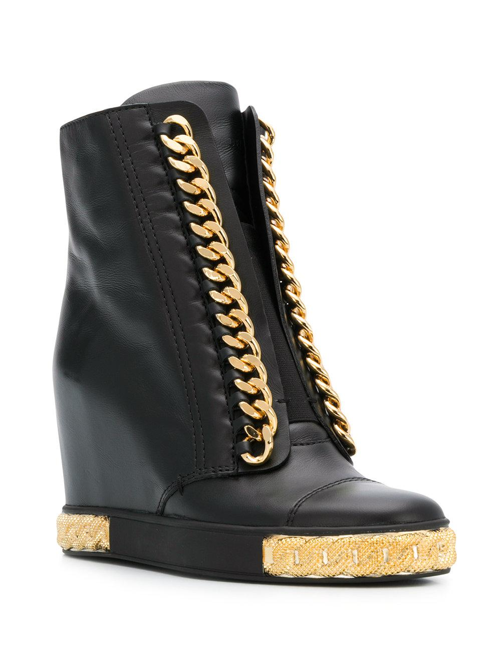 e24f0006541 Casadei Chain Embellished Wedge Sneakers in Black - Lyst