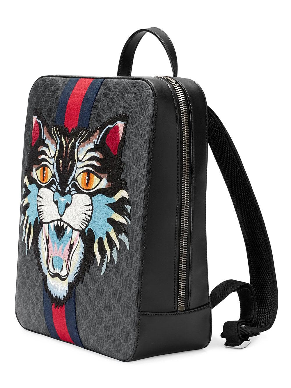 01ea47aa421c Gucci GG Supreme Backpack With Angry Cat in Black for Men - Lyst