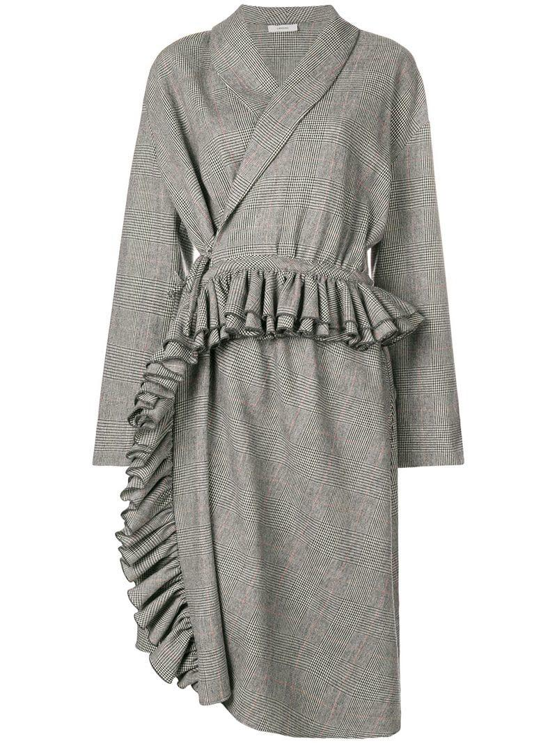 Black Lardini Check Dress In Lyst Midi n81qCwPxXa