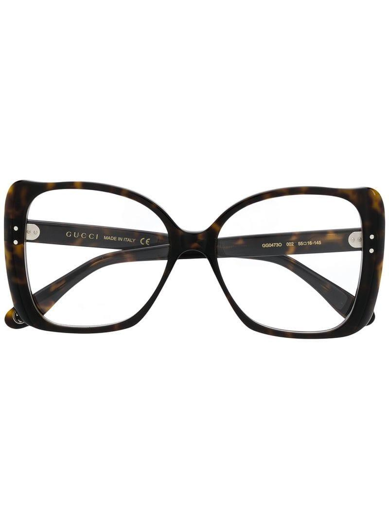 ef6dbbdc1b539 Lyst - Gucci Oversized Shape Glasses in Brown