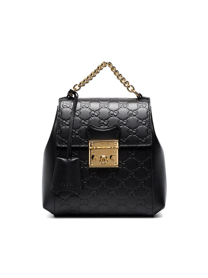 Black GG Padlock Leather Backpack Gucci