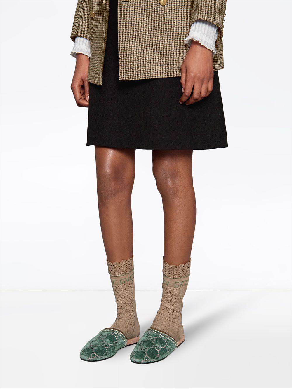 239445bca Gucci GG Velvet Slippers in Blue - Save 1% - Lyst