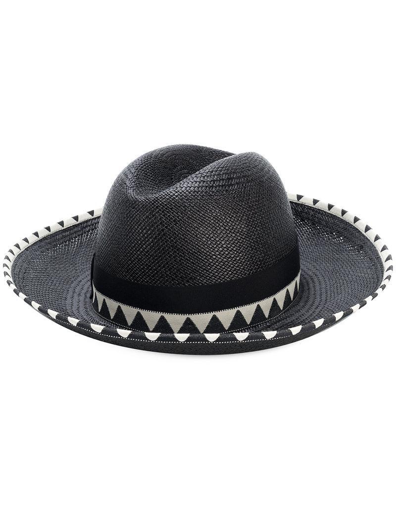 Borsalino Claudette Panama Hat in Black - Lyst f34a81bc8708
