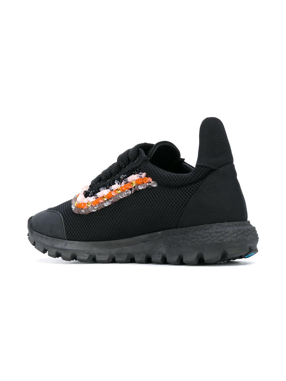 No Ka  oi - Black Beaded Trim Lace-up Sneakers - Lyst. View fullscreen ac2f7704b