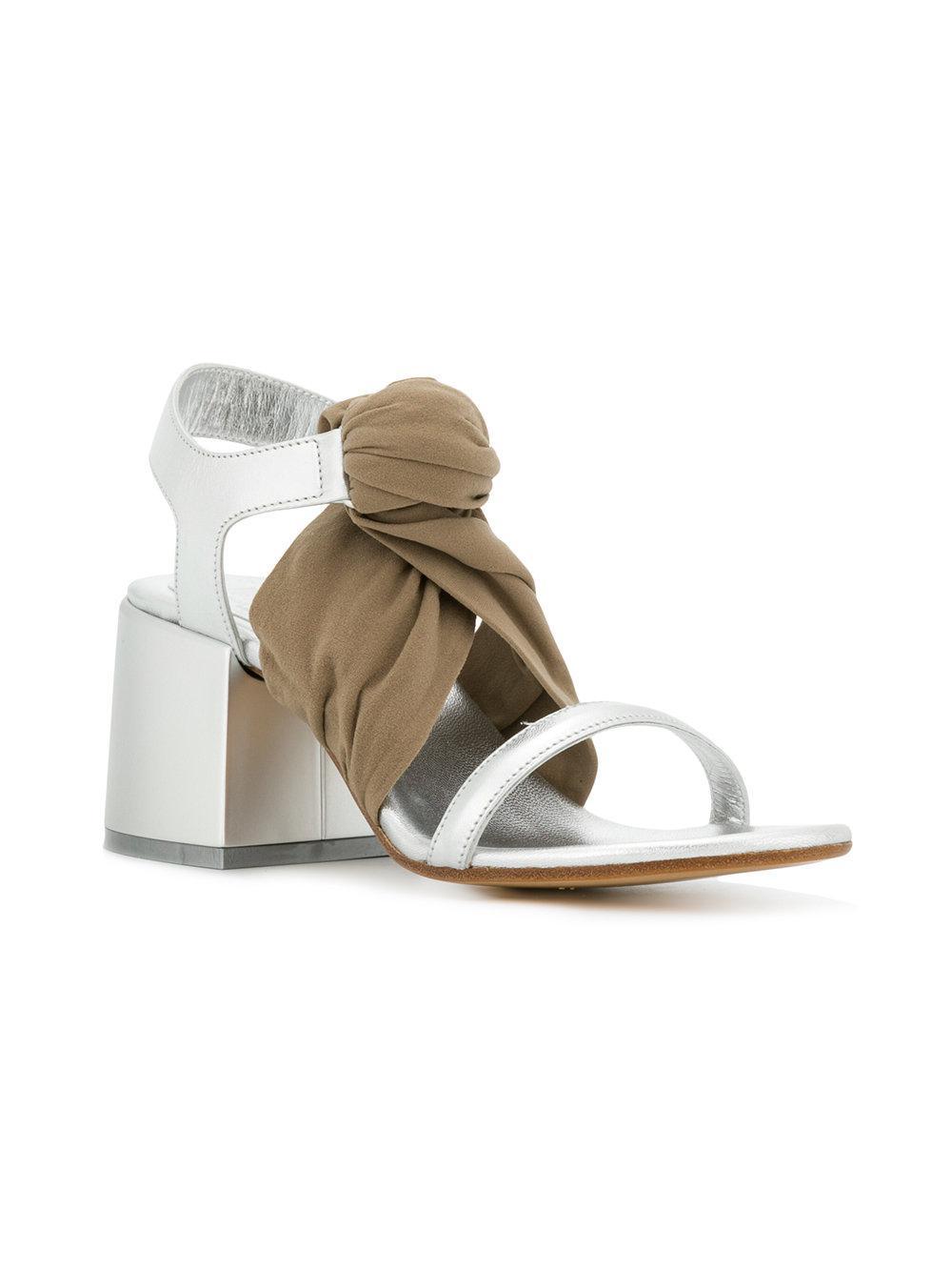 2c2f51e48c01 MM6 by Maison Martin Margiela Stocking Block Heel Sandals in Metallic - Lyst