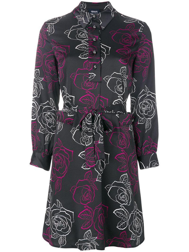 Lyst Armani Jeans Rose Print Shirt Dress In Black