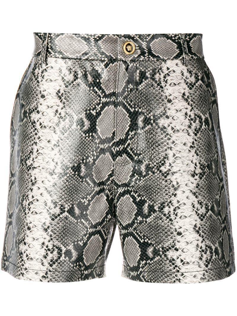 654d539368 Versace Snake Effect Shorts in Gray for Men - Lyst