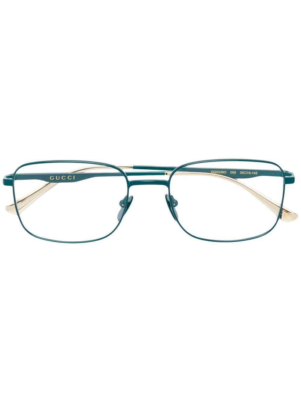Lyst - Lunettes à monture carrée Gucci en coloris Vert 4e1508544012