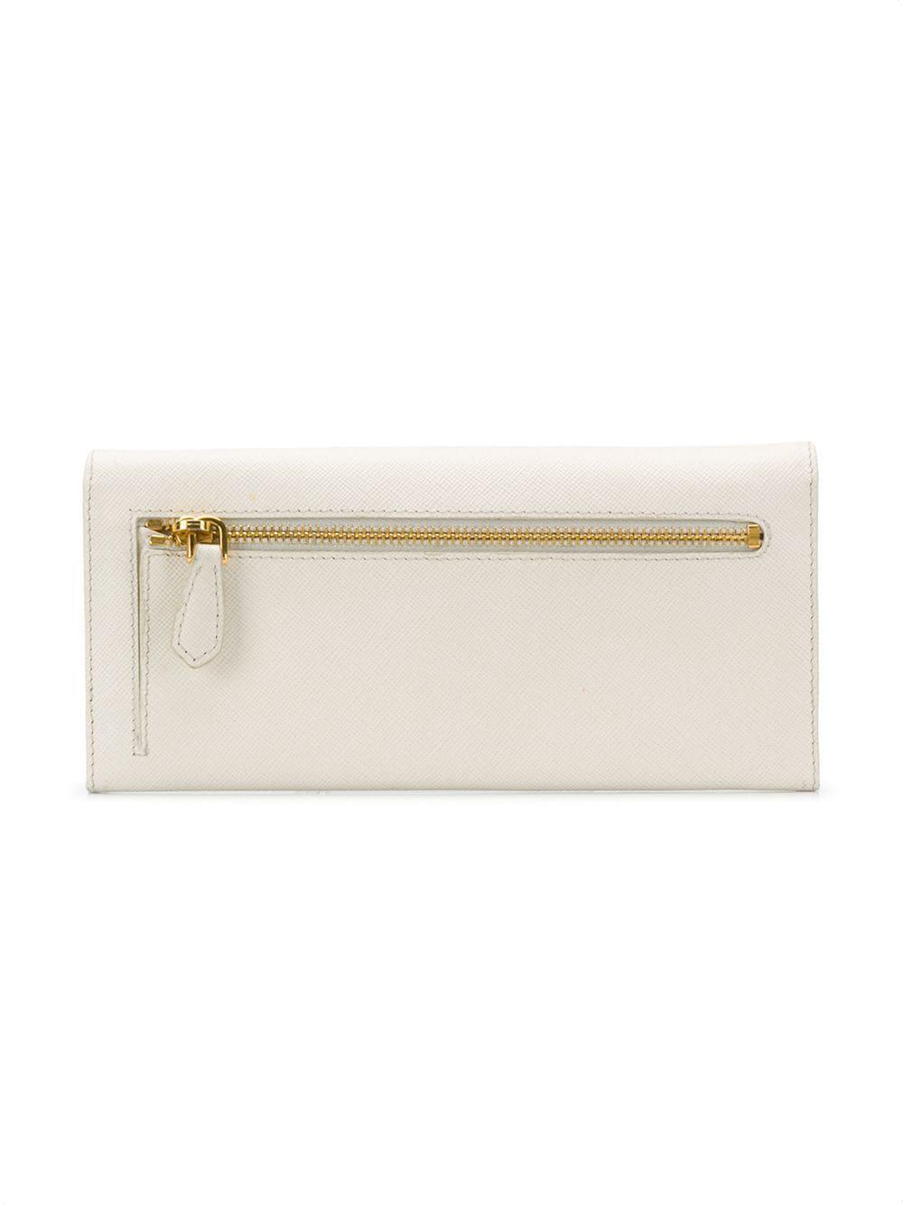 89b3b9b338d9 Lyst - Prada Flap Saffiano Continental Wallet in White