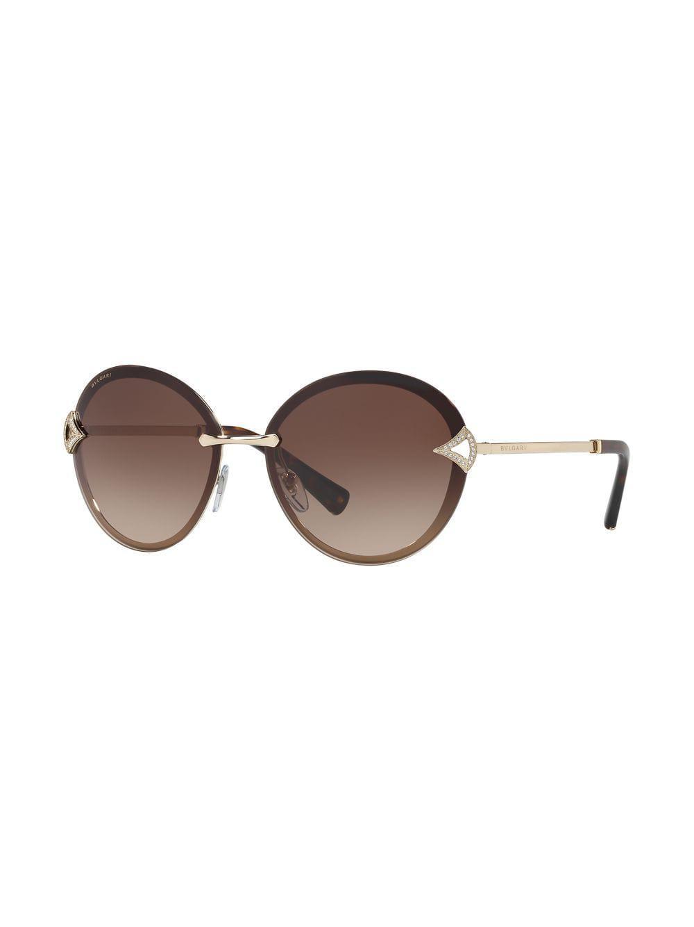 Round In Lyst Metallic Sunglasses Frame Crystal Embellished Bvlgari REqXwxp