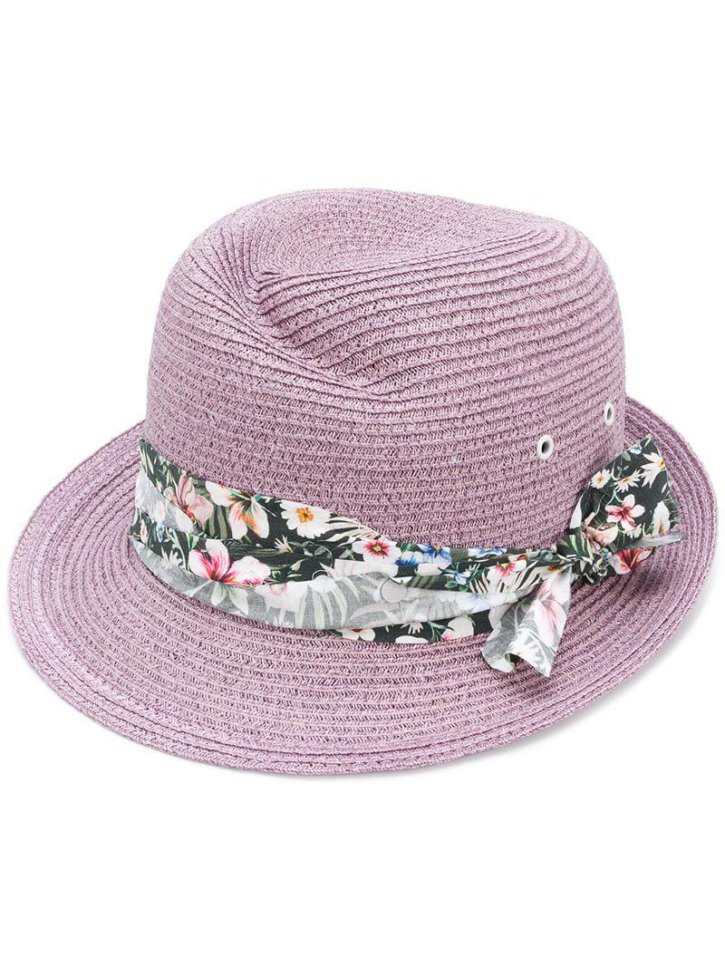 2613c1dcf54d5 Lyst - Maison Michel Floral Banded Fedora in Pink