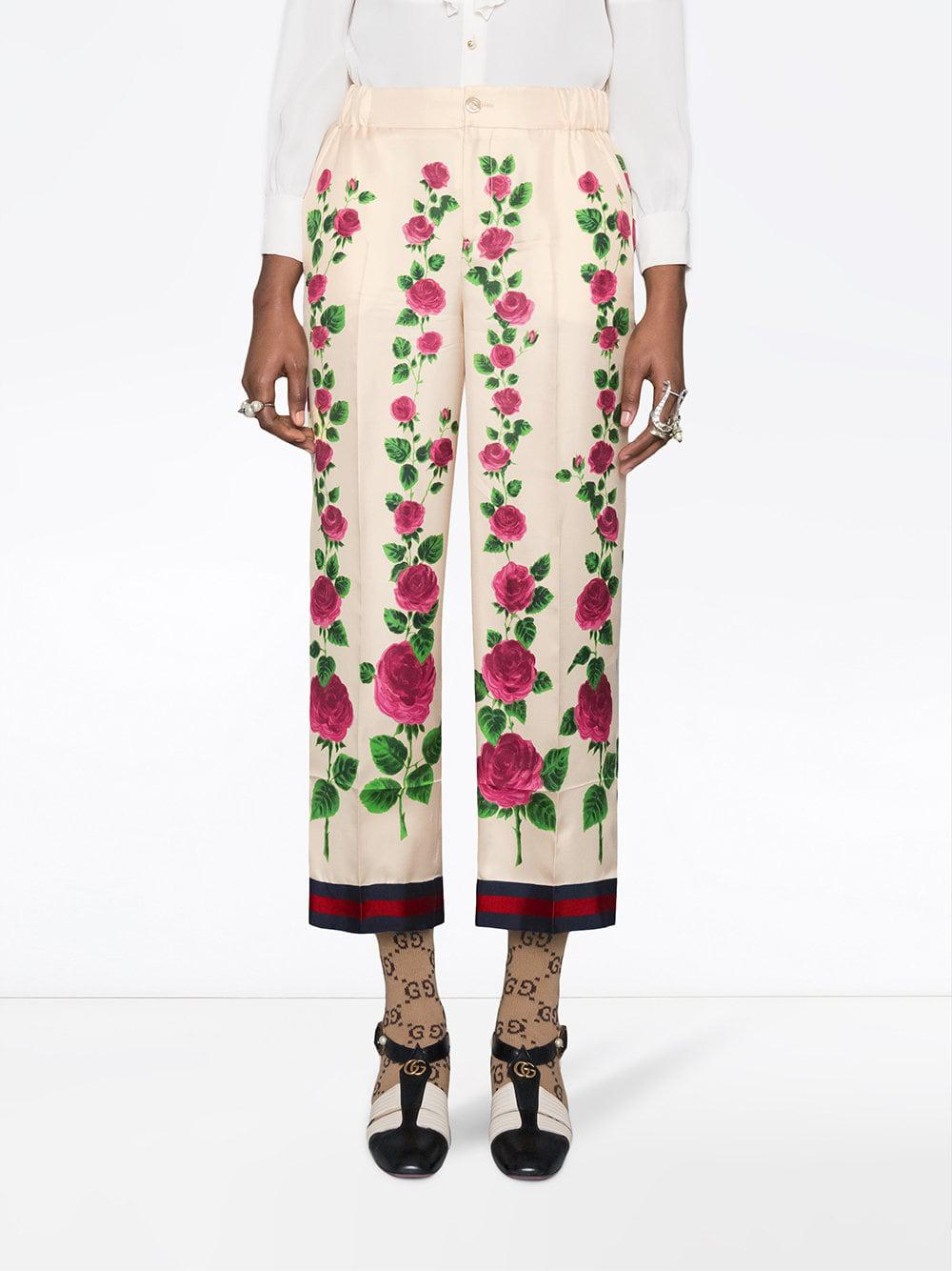 9258ed43e5d Lyst - Gucci Rose Garden Print Silk Pajama Pants in Pink - Save 25%