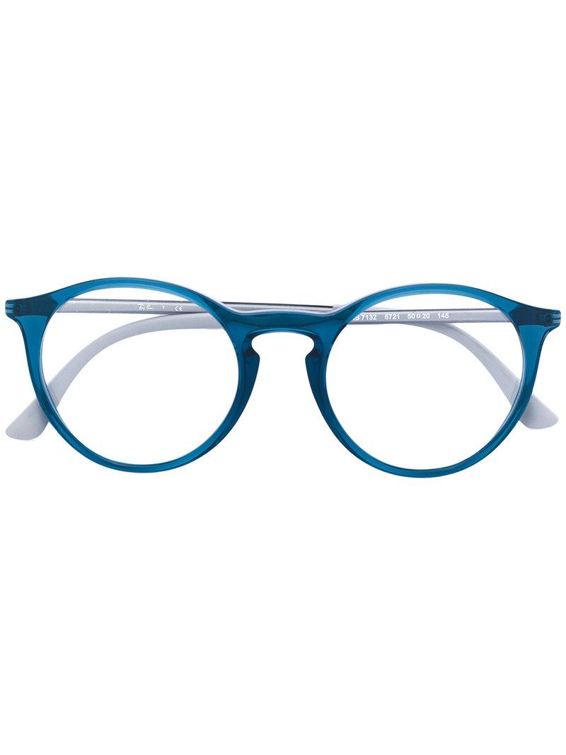 52c59df4c0e Ray-Ban Round Shaped Glasses in Blue - Lyst