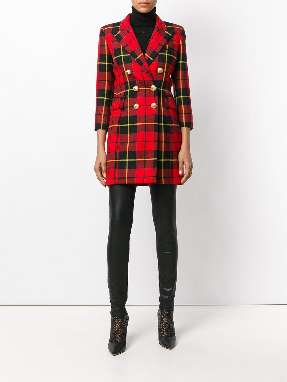 bb71402329094 Balmain Tartan Blazer Dress in Red - Lyst