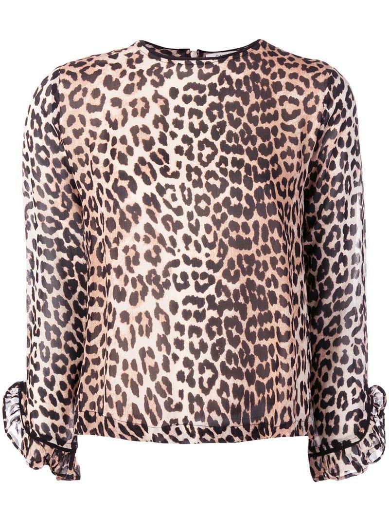 4a3e915b3a219d Lyst - Ganni Leopard Print Long-sleeve Blouse in Brown - Save 1%