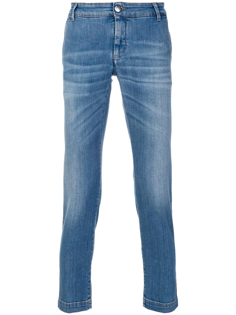 Entre Amis Cropped Slim Fit Jeans in Blue for Men - Lyst 901547b2b85