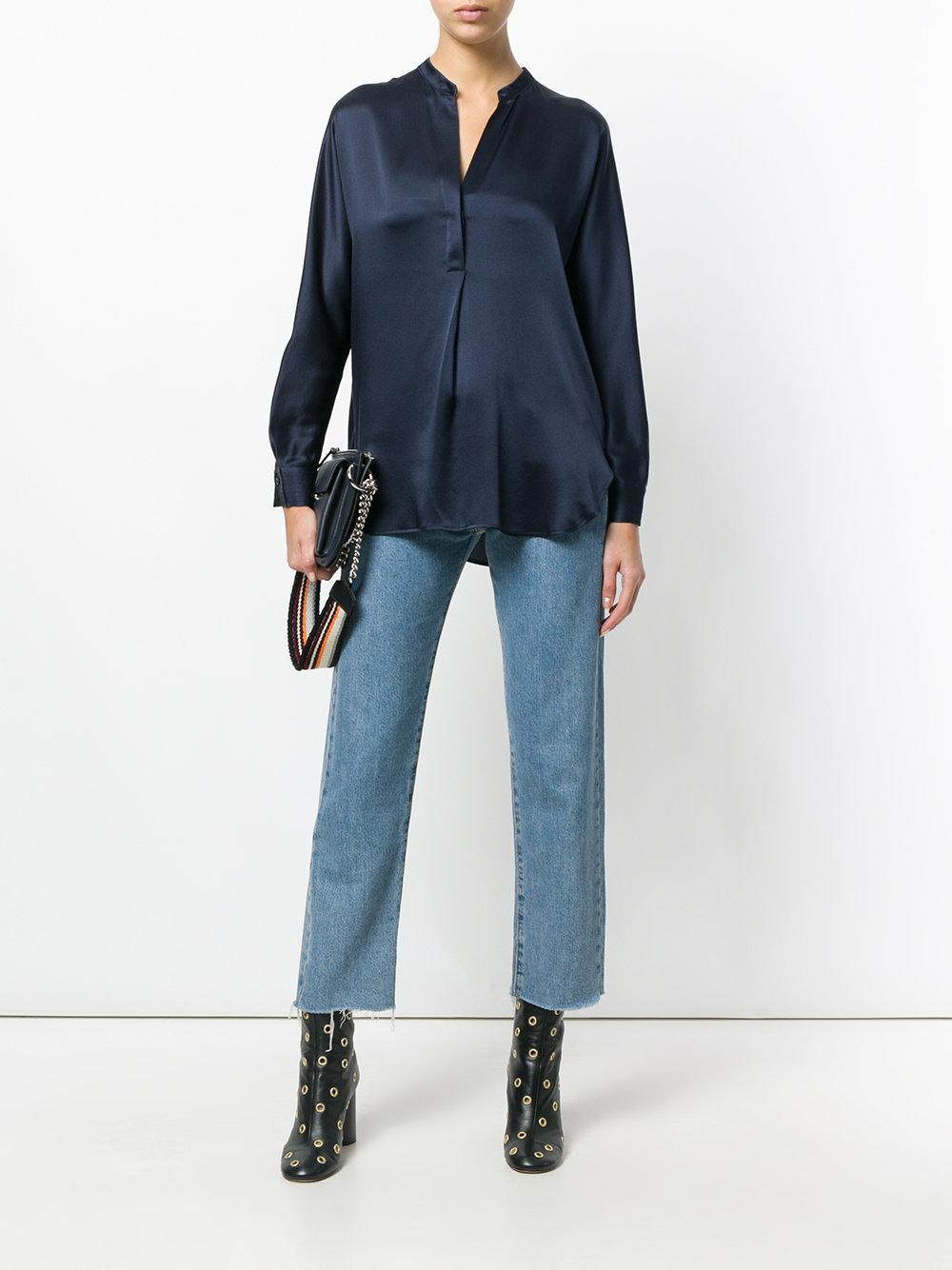 88741254320543 Lyst - Vince Band Collar Blouse in Blue