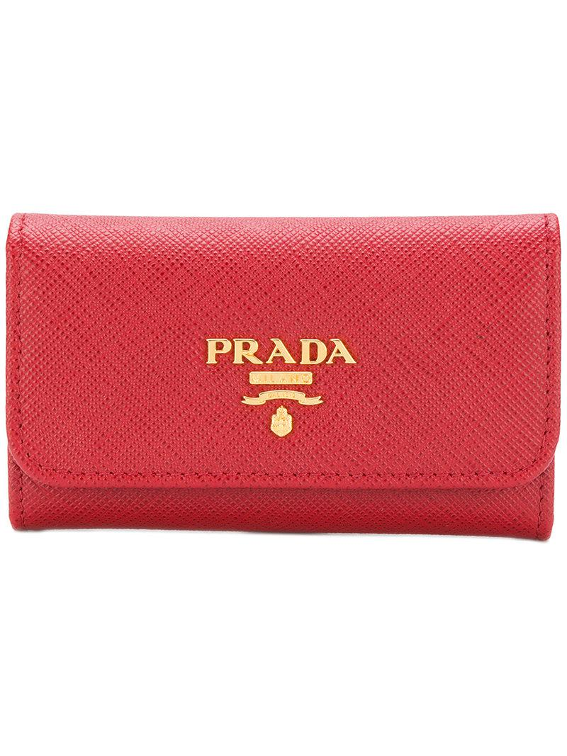 f06f84dd2f66f3 Lyst - Prada Logo Plaque Key Case in Red