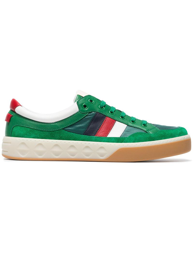 8bdf2fa33057 Gucci Leather And Nylon Sneakers in Green for Men - Lyst