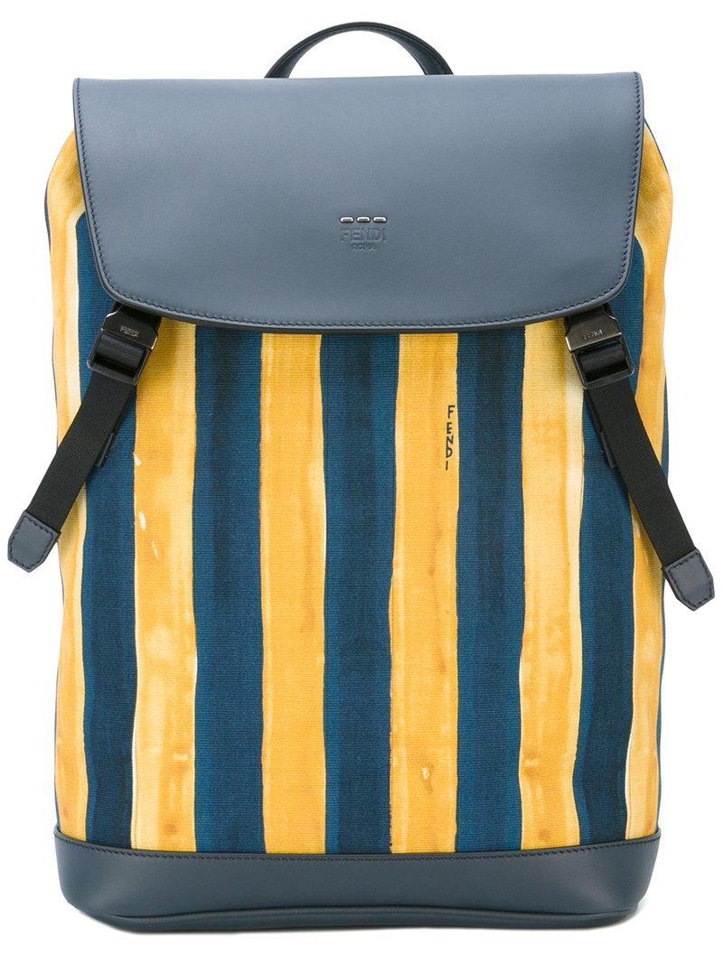 7de50a45fbde Lyst - Fendi Watercolour Striped Backpack in Blue for Men