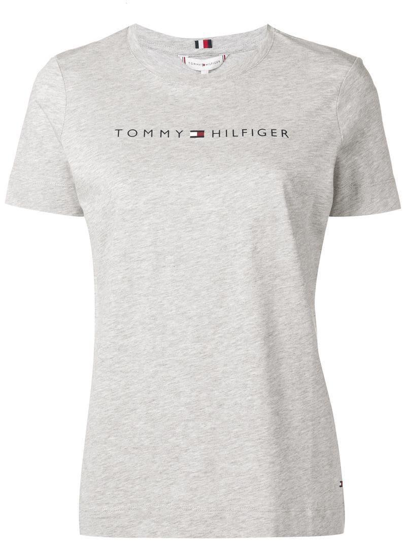 c762d887 Tommy Hilfiger - Gray Logo T-shirt - Lyst. View fullscreen