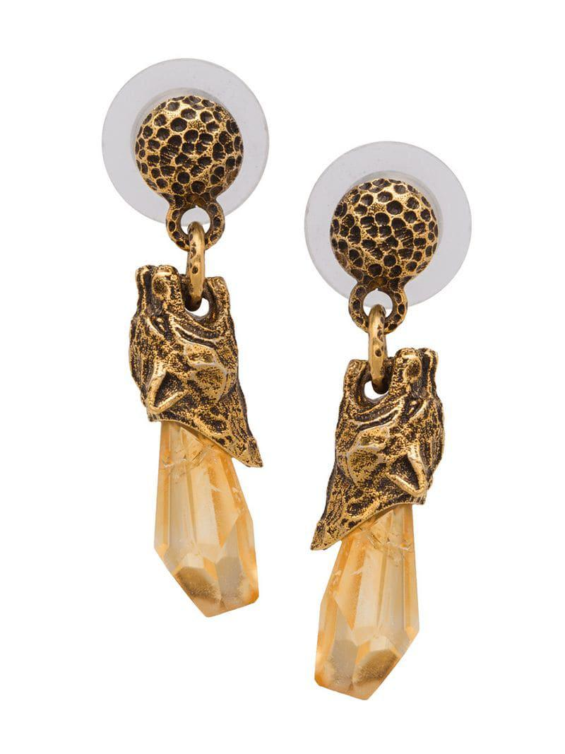 Prada Women S Metallic Talisman Panther Earrings