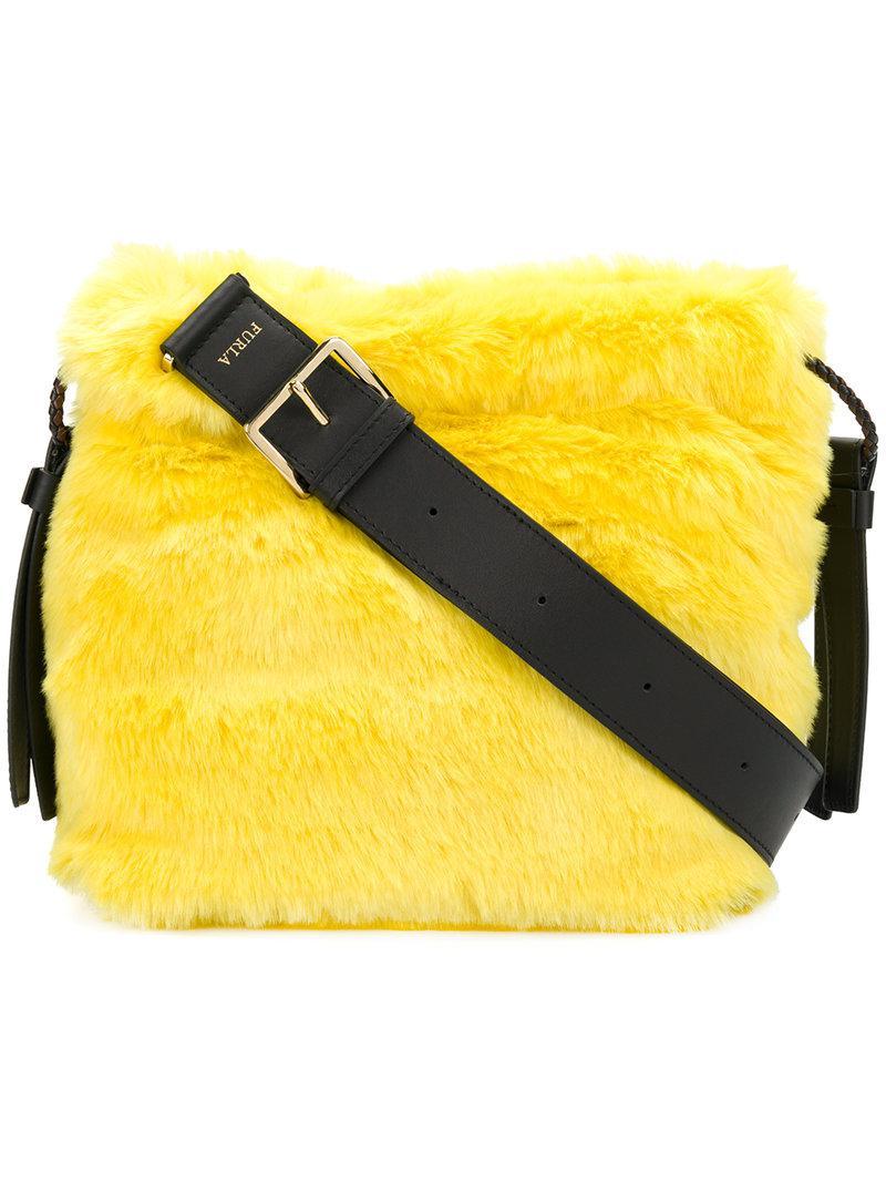 Lyst - Furla Faux Fur Bucket Bag in Yellow 349f7a912ff84